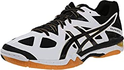 ASICS Men\'s Gel-Tactic Volleyball Shoe, White/Black/Pale Gold, 11.5 M US
