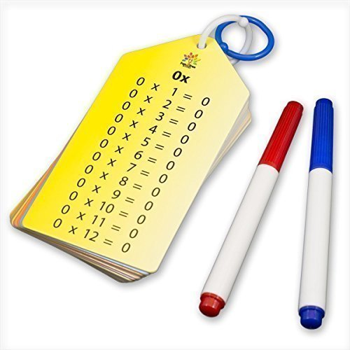 Wipe Clean Times Tables Multiplication Facts Flash Cards with Key Rings, Dry-Erase Markers, and a Bonus ( Multiplication Chart / Sheet )