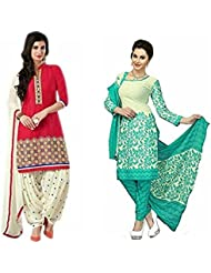 Marmic Fab Women's Cotton Printed Unstitched Regular Wear Salwar Suit Dress Material (MR_Dress_683_Sweetred&Rama_freesize)