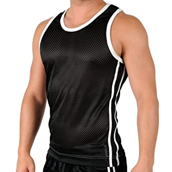 Mens Shiny Mesh Performance Athletic Workout Tank Top by Gary Majdell