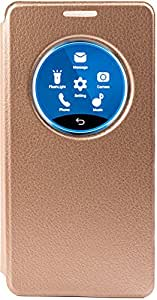 Purple Eyes Censor Working Quick Circle Flip Cover Case for Samsung Galaxy S6 Edge (Gold)