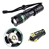 Flashlight, Water Resistant Super Bright Cree T6 800 Lumens 3-Mode LED Zoomable Flashlight Torch (Black)