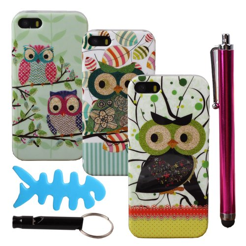 Teenitor(Tm) Bulk Pack Of 3 Hot Tough Cute Cartoon Owl #01 Animal Bling Soft Tpu Gel Design Custom Case Cases For Iphone 5 5S (With Screen Protector, Stylu, Fish Earphone Cable Organizer, Whistle) Shipping From Usa