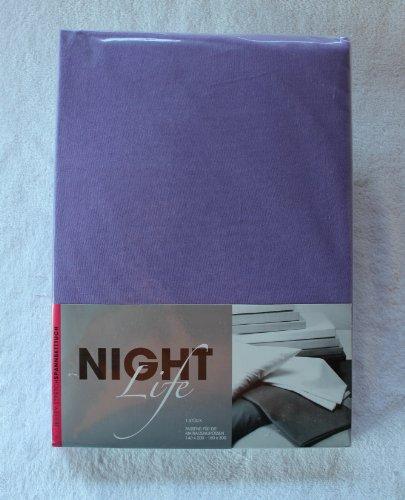 NightLife Jersey Spannbettlaken Farbe violett Größe 180 x 190 bis 200 x 200 cm Spannbettuch Spannlaken mit Rundumgummi 100% Baumwolle