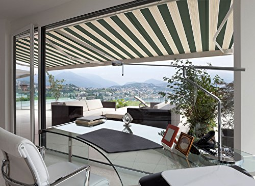 ADVANING Manual Luxury L Series, 12'x10', Semi-Cassette Top Quality Window/Door Canopy Sun Shade Patio Retractable Awning, Garden Green with Sand Beige Stripes, Model: MA1210-A808H2 (Patio Retractable Sun Shade compare prices)