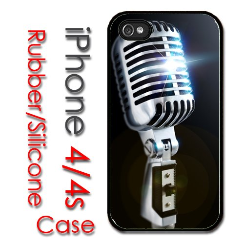 Iphone 4 4S Rubber Silicone Case - Old School 50'S Style Microphone Music
