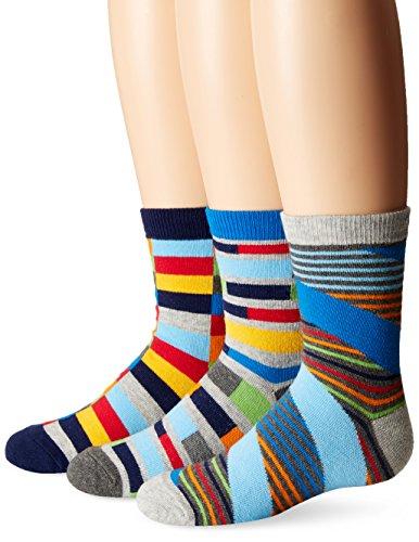 Jefferies Socks Big Boys' Funky Stripe Crew Socks, Multi, X-Small (3 Pair Pack)