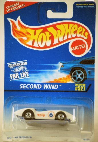 1996 - Mattel - Hot Wheels - Second Wind - Open-Air Speedster - White - 1:64 Scale Die Cast - Collector #527 - MOC - Out of Production - Limited Edition - Collectible