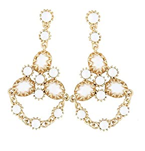 White and Gold Summer Fashion Earrings - Dangle