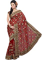 De Marca Red Faux Georgette Festive Wear 409 A Saree
