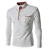 (Anotogaster) Tシャツ 長袖 カットソー ドット柄 水玉 ゴルフ スポーティー きれいめ スリム タイト 3color (ホワイト XL)