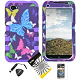 4 items Combo: ITUFFY (TM) LCD Screen Protector Film + Mini Stylus Pen + Case Opener + Purple Pink Green Yellow Blue Multi Color Butterfly Design Rubberized Hard Plastic + Soft Rubber TPU Skin Dual Layer Tough Hybrid Case for HTC M4 / AT&T HTC First / Facebook Phone