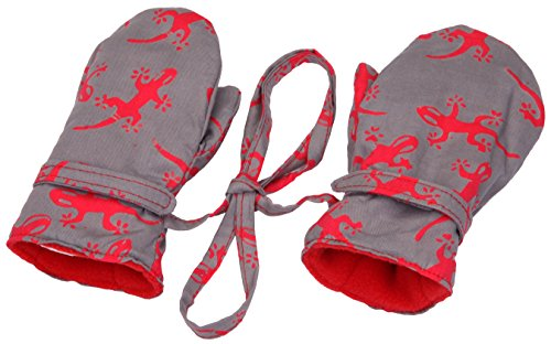 Baby Boys Fleece Mittens Grey Gekos Medium