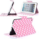 i-Blason Dalmation Series Auto Wake / Sleep Smart Cover Book Shell Stand case Cover for Apple New iPad Mini 7.9 Inch Wifi 3G 4G LTE with Built-in Stand Polka Dot Design (Pink /White)