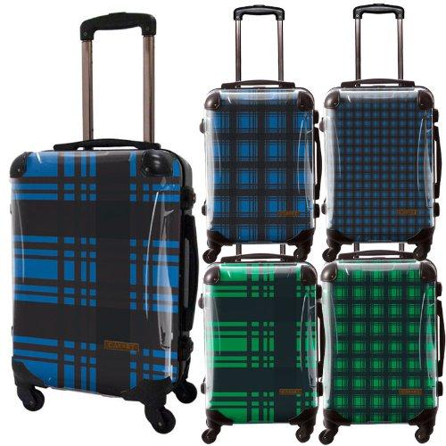 カラーチェックモダンスーツケース/ベーシック/フレーム4輪/TSAロック/機内持込可能/キャラート/ギンガムチェック/ブルー グリーン/CRA01-023AJ