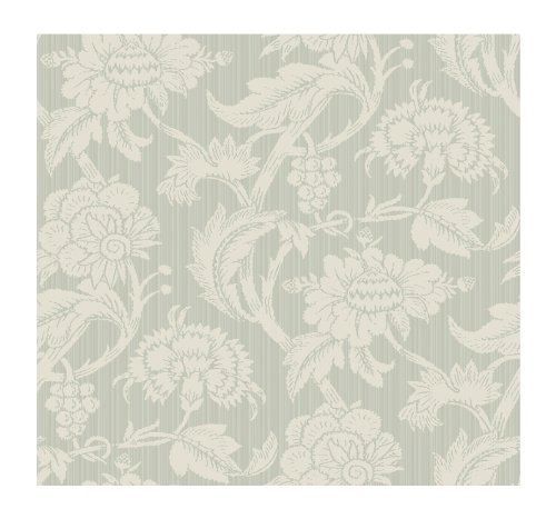 York Wallcoverings Painted Garden Jacobean With Stria Stripe Prepasted Wallpaper, Silver/Bisque front-204711