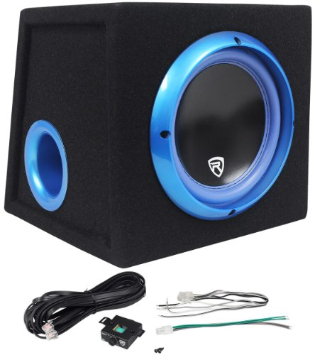 """Rockville Rvb8.1A 8"""" 300 Watts Peak/200 Watts Rms Active/Powered Car Subwoofer With Enclosure And Bass Remote - Hassle Free 1 Year Warranty!"""
