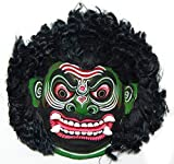 Chhau Demon Mask Kathakali Papier Mache Green Large (H 10 x L 11 x W 2.5) inches