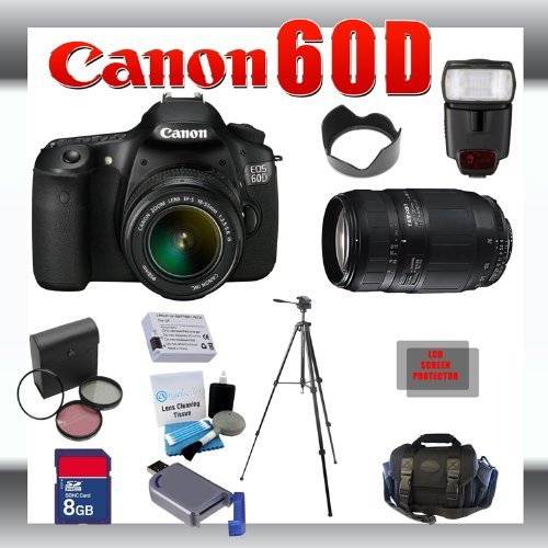 Canon EOS 60D 18 MP Digital SLR Camera with Canon 18-55mm and Tamron AF 75-300mm f/4.0-5.6 LD for Canon Digital SLR Cameras + 8GB Memory Card + Digital Flash + SD Memory Card Reader + Li-Ion Replacement Battery Pack + Deluxe Cleaning Kit + Carrying Case +