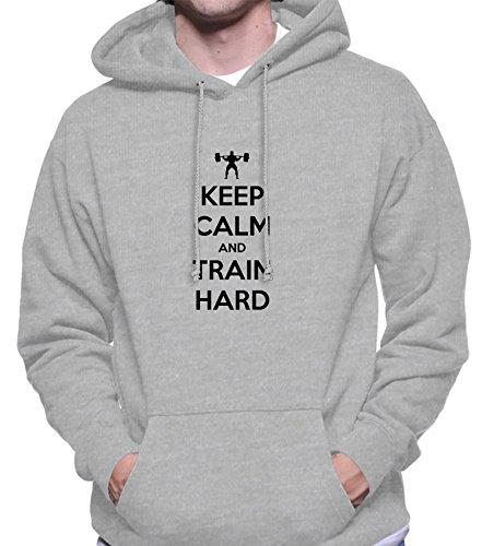 Hoodie da uomo con Keep Calm And Train Hard New Years Resolution Phrase stampa. XX-Large, Grigio
