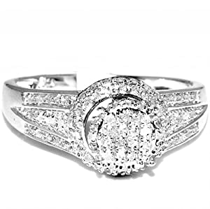Halo Diamond Engagmenet Promise Ring 10mm wide 0.23ctw pave set diamonds Sterling Silver