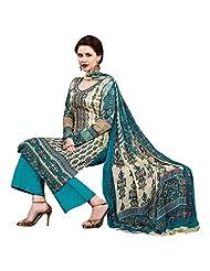 Off White And Sky Blue Cotton Salwar Kameez