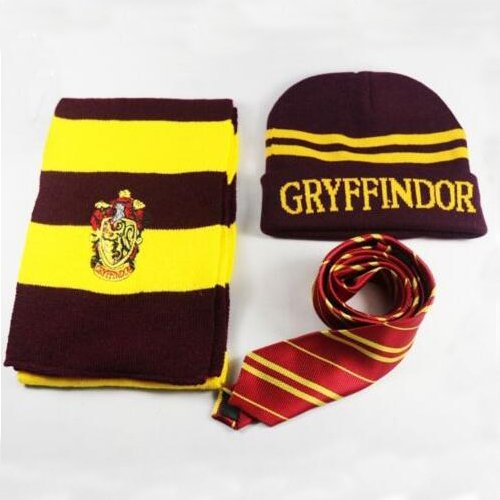 XMY Harry Potter Gryffindor House Wool Scarf Sciarpa Costume + Silk Tie + Hat/Cap Cosplay COLOR NEW