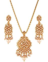 Variation White Pearl Studded Gold Plated Pendant Set - VD17064