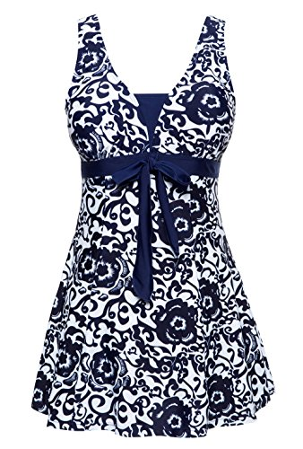 Wantdo Women's Large Bust Swimwear Swimsuit Plus Size Swimming Costumes(Navy,US 14-16