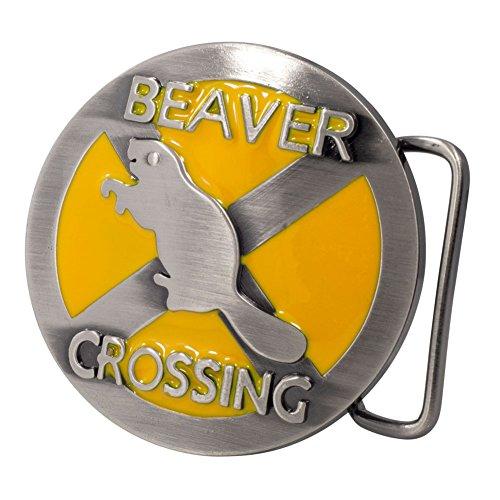 Buckle Rage Adult Mens Beaver Crossing Funny Humor Animal Belt Buckle Yellow