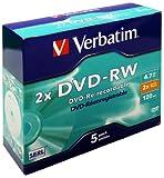 Verbatim DVD-RW (2x) 5 Pack J/Case