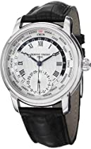Frederique Constant Worldtimer Black Leather Strap Watch FC-718MC4H6