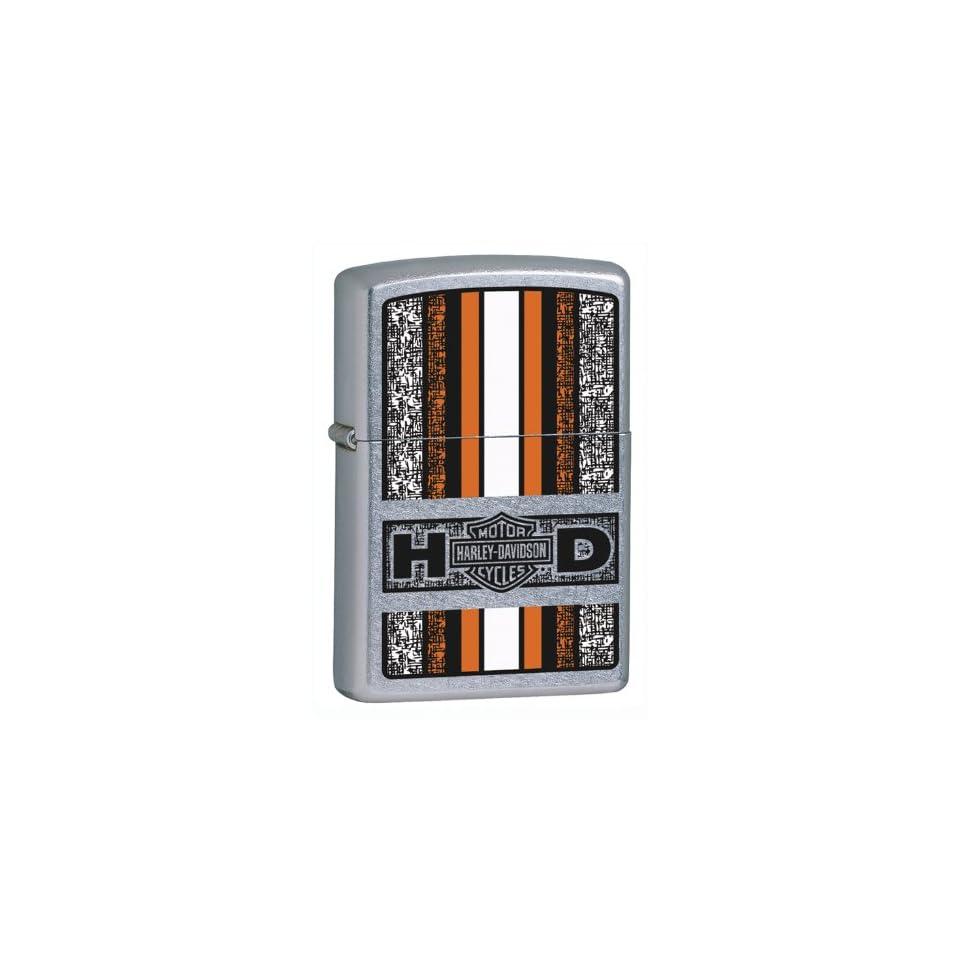 Zippo Harley Davidson Orange Lighter (Silver, 5 1/2 x 3 1/2 cm)