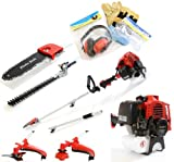 Charles Jacobs 52cc Petrol Long Extesion Multi Function 5 in 1 Garden 2-Stroke Power Tool in Red including: (1)Hedge Trimmer, (2)Strimmer, (3)Brushcutter, (4)Chainsaw Pruner, (5)Extension Pole & Safety Kit 12 Months Warranty