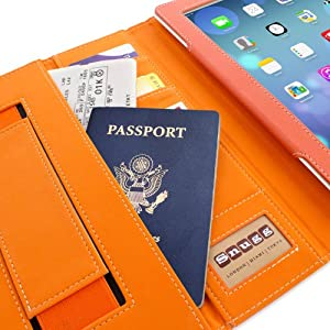 Snugg iPad 4 & iPad 3 Executive Leather Case in Orange - Flip Stand Cover with Card Slots, Pocket, Elastic Hand Strap and Premium Nubuck Fibre Interior - Automatically Wakes and Puts the Apple iPad 4 & 3 to Sleep