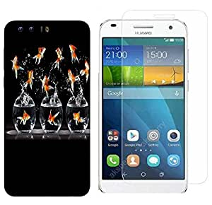Snoogg Gold Fish Combo Designer Protective Back & Shatter Proof Tempered Glass For HONOR 8