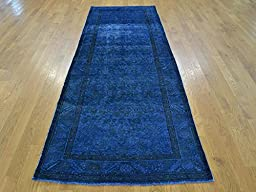 3 x 9 RUNNER HAND KNOTTED OVERDYED BLUE PERSIAN TABREZ ORIENTAL RUG G23826