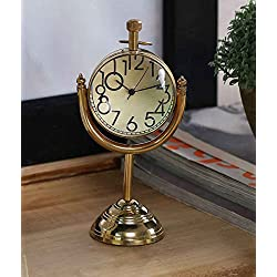 Style Antique Retro Vintage-Inspired Brass Metal Craft World Globe Table Clock Home Decor - 1.6 Inch