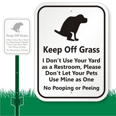 "Smartsign Aluminum Sign, Legend ""Keep Off Grass - Funny Dog Poop Message"" With Graphic, 12"" High X 9"" Wide Sign Plus 3' Tall Stake, Black On White"