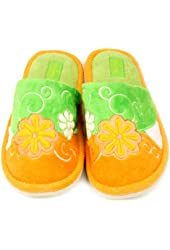Ladies Floral Fuzzy Soft Cushion Indoor Outdoor Rubber Sole Slippers Green S 5-6