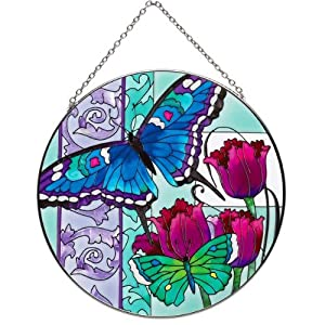 "6.5"" Hand Painted Suncatcher by Joan Baker LC236-Blue Butterfly & Tulips"