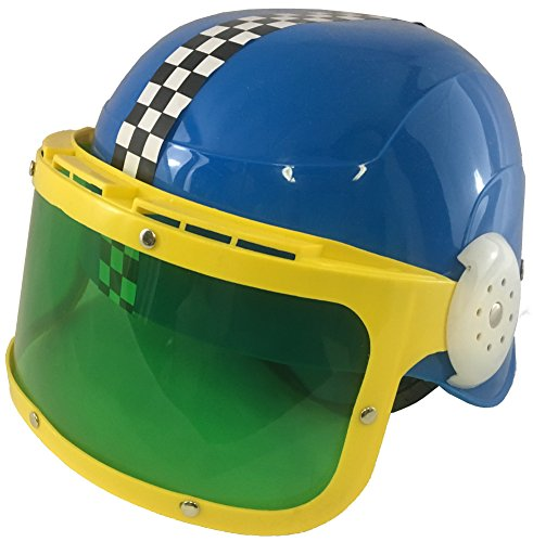 [Child's Blue Race Car Driver Motorcycle Racing Helmet And Visor Accessory] (Race Car Driver Kids Costumes)