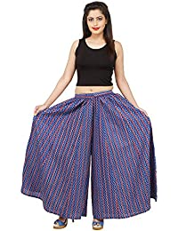 Elegant Blue Pink Color Zigzag Lines Rayon Sharara / Divider Palazzo Pants / Extra Wide Leg Pants For Women, Girls...
