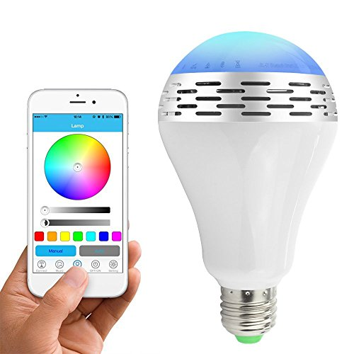 Toprime Bluetooth Smart LED Light Bulb Speaker Dimmable Multicolored Color Changing LED Bedside Desk Lights Bar Sinks - Smartphone Remote Controlled (Nightlight Lightbulbs Blue compare prices)