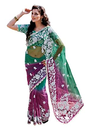 Fabdeal Women Net Embroidered Saree with Blouse Piece available at Amazon for Rs.2699