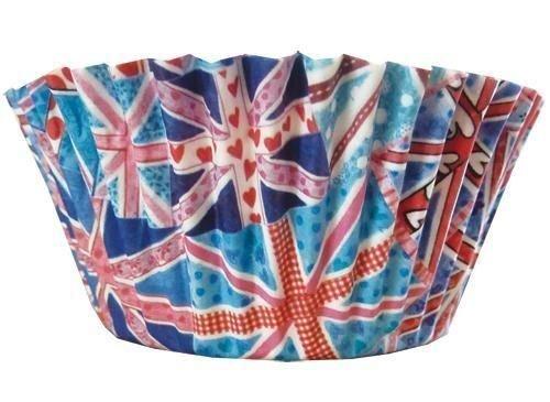 Gran Bretaña diseño Vintage de bandera de Reino Unido de envoltorios para cupcakes x 50