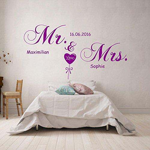 wandtattoo schlafzimmer mr namen datum personalisiert 120cmx55cm lila. Black Bedroom Furniture Sets. Home Design Ideas