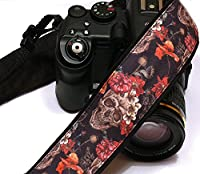 Sugar Skulls Camera Strap, Dia de los Muertos, Day of the Dead, DSLR Camera Strap, SLR, Nikon, Canon Camera Strap, Accessories; 084