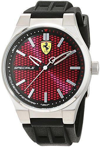 Reloj Cuarzo Ferrari Para Hombre Con  Rojo Analogico Y Negro Silicona 0830353