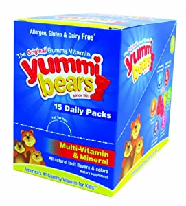 Yummi Bears Multivitamin and Mineral Supplements, Daily Packs, 15 Count